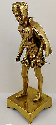 Antique FRENCH 19th C Gilt Gold BRONZE STATUE Sculpture Boy King Henry w. Sword