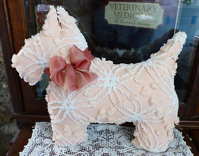 Vintage chenille bedspread Westie Scottie Dog Double Wedding Ring Peachy Pink