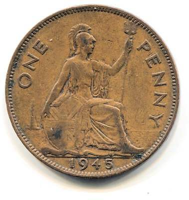 Great Britain 1945 Large One Penny Coin - United Kingdom England King George VI