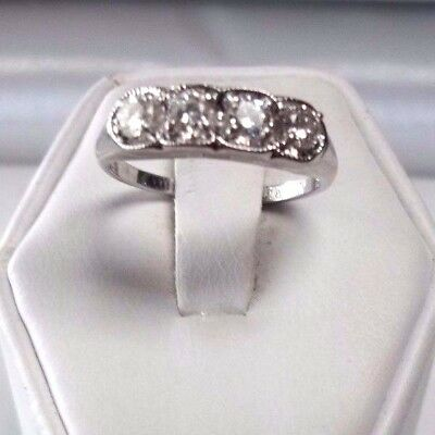 BEAUTIFUL!! 14K WHITE GOLD 1/2ct. FOUR (4) DIAMOND BAND ESTATE RING *VERY NICE!*