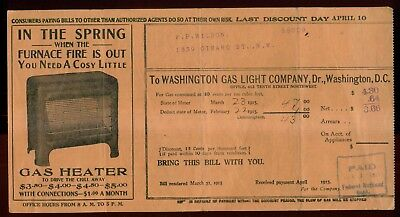 1915 Washington Gas Light Company Bill with Advertising - Washington,DC