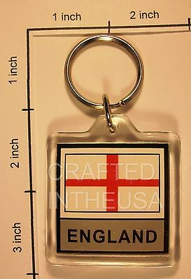 England Cross of St George Flag Keychain Plastic Double Sided Key Ring Chain New