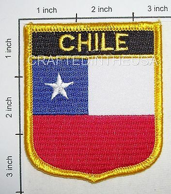 Chile Flag Shield Embroidered Patch Sew Iron On Biker Vest Applique Emblem New