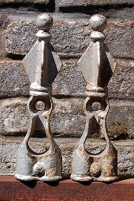 TWO Matching Vintage Antique Large Wrought Iron Fence or Gate Finials Steampunk