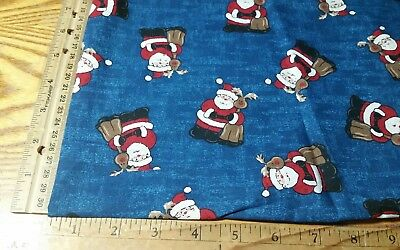 """Santa Claus Reindeer Christmas Stars On Blue Cotton Fabric By The 1/2 Yard 44""""w"""