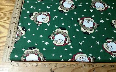 """Santa Claus Merry Christmas Stars On Green Cotton Fabric By The 1/2 Yard 44""""w"""