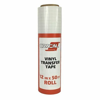 """Oracal 12"""" X 50 Feet Roll CLEAR Transfer Tape w/ Grid for Adhesive Vinyl 