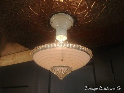 VTG 3 Chain Art Deco Hanging Light Fixture - Chandelier Pink Frosted Glass Shade
