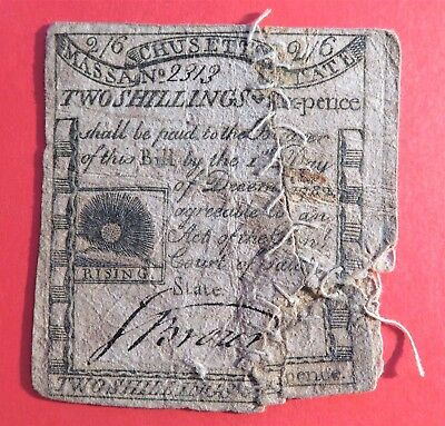 Massachusetts December 1, 1779 2/6 Note Paul Revere *Very Rare Sewn Type*