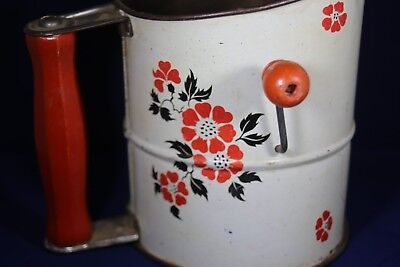 Vintage Hall China Red Poppy Metal Hand Crank Flour Sifter 1930 Era (No Reserve)