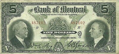 Canada Bank Of Montreal $5 1931 Issue - Bog & Gordon - Nice Color & Bright