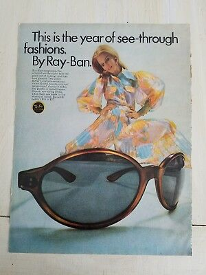 1969 Bausch and Lomb Ray-Ban women's sunglasses see-through fashion ad