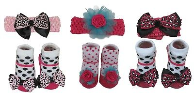 Newborn Baby Girl Socks Booties and Headband Flower Photo Prop Set 0-12 Months