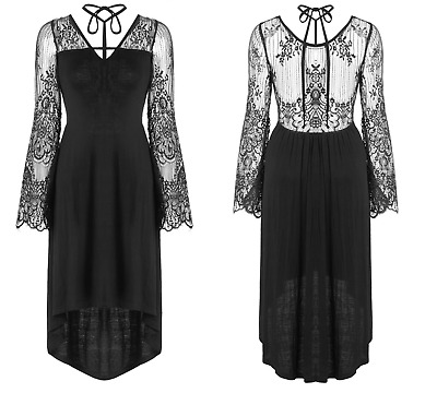Dark In Love Black Floral Lace Long Sleeve Steampunk Victorian Gothic Dress