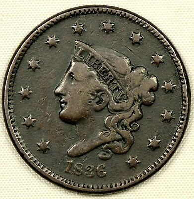 CIRCULATED 1836 CORONET HEAD LARGE CENT 1c