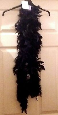 BNWT Black Feather Party Boa Hen Night Flapper 1920's Book Day New