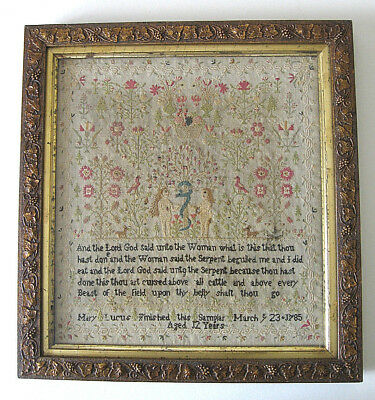 Adam & Eve American Sampler  /  March 23, 1785  /  Mary Lucus, 12 years old