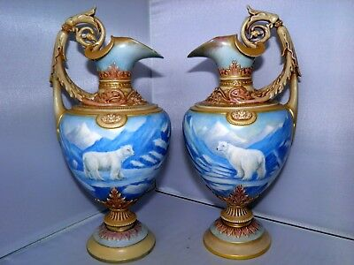 "Stunning Large 10.5"" Pair of Royal Worcester Polar Bears Wonderfully Ornate Jugs"