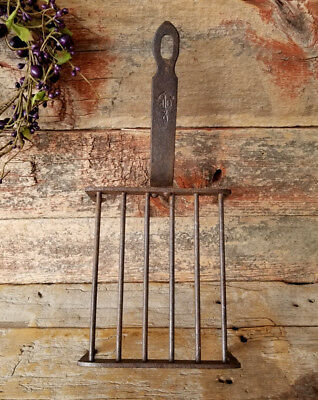 Antique 19thc. Primitive Small Sgnd. WROUGHT IRON GRIDIRON Cooking Grill BROILER