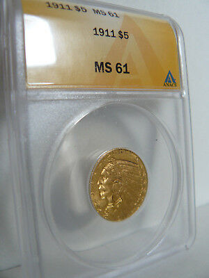 1911 $5 Gold Indian Half Eagle ANACS MS-61 Very Nice!!