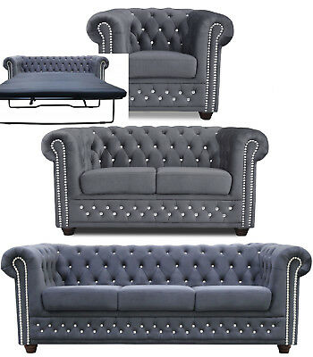 2 3 2 3 sitzer chesterfield sofa couch kunstleder wohnm bel b rom bel garnitur eur 171 99. Black Bedroom Furniture Sets. Home Design Ideas