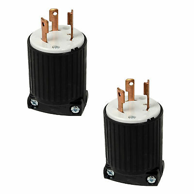 Cooper 125V 30Amp Twist Lock Plug L5 NEMA Connector 2PK for Generator RV Marina
