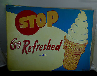"Original Dairy Queen Metal ""EAT-IT-ALL"" Ice Cream Cone Sign From The 50's - 60's"