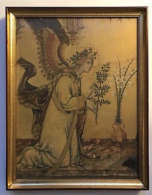 """Vintage Mid-Century Gold Framed Angel Print """"The Annunciation"""" by Simone Martini"""