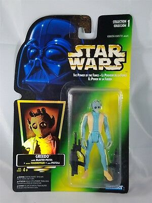 Star Wars POTF Bilingual Card Greedo w/ Blaster Pistol Green Card Hologram NIP