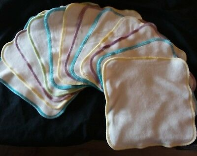 LOT of 12 NEW Organic Cloth Diaper Baby Wipes Bamboo/Cotton Velour Buttery SOFT!