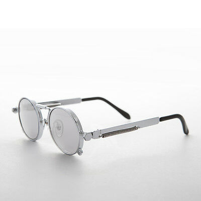 Very Rare Silver Steampunk Round Sunglass with Mirror Lens - Ambrose
