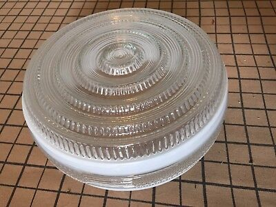 """Vintage Drum Glass Retro Ceiling Light Shade Only 8"""" Kitchen Bath Frosted"""