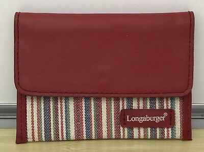 Longaberger Card Case Wallet in Market Stripe with Red