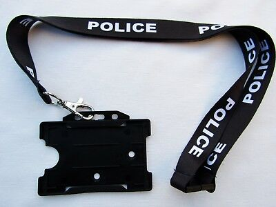 POLICE,Black/White Neck Lanyard/Metal Trigger Clip With ID Card/Badge Holder UK