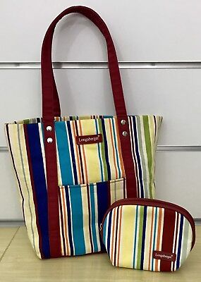 Longaberger Sunny Day Stripe Tote and Mirror Cosmetic