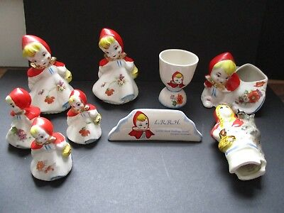 Vintage Little Red Riding Hood Salt & Pepper Shakers, Planter And Other Pieces