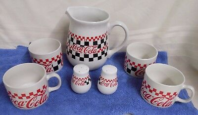 Coca Cola 7-Piece Serving Set, Diner Pattern, Gibson,1996 Unused, Open Box