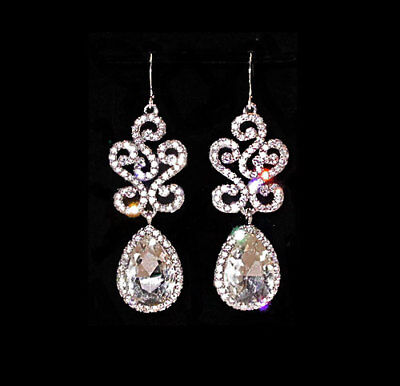 ~FANCY VTG 50s ART DECO BRILLIANT FACETED RHINESTONE DROP EARRINGS!~