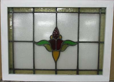 "LARGE OLD ENGLISH LEADED STAINED GLASS WINDOW Gorgeous Abs Floral 30.5"" x 22.75"""