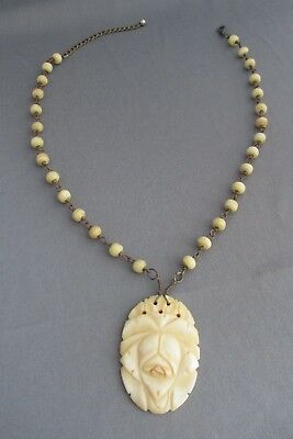 Vintage Hand Carved Bone Bead Oval Repousse Flower Rose Pendant Necklace 25G
