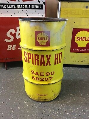 1970's SHELL Grease / Oil Can 16 Gallon Drum - MANCAVE GARAGE SHOP TRASH CAN