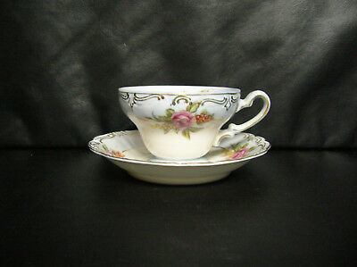 Vintage Merit Pink Moss Rose Hand Painted Tea Cup And Saucer - Made In Japan
