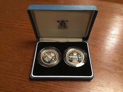 United Kingdom Silver Proof Two-Coin Set 1989 Sealed Two Pounds and Case inc COA
