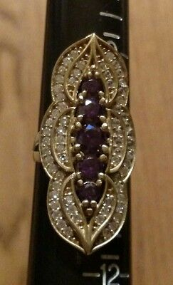 Vintage Antique Finish Amethyst​/white Topaz Cigar Ring In 925 Sterling.