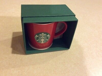 NEW NIB STARBUCKS 2016 Mermaid Logo 3 oz ceramic red holiday demitasse cup mug