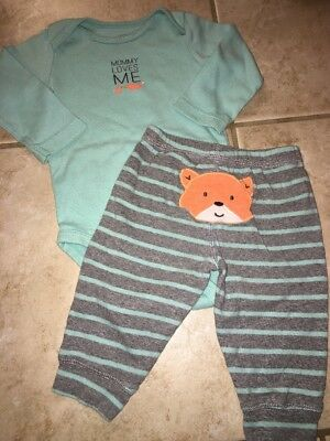 Baby BOY Carter's 6m 2pc Long Sleeve Bodysuit Pants Outfit FOX Mommy Loves Me