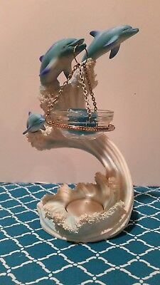 Dolphins Dancing On The Waves Scented Wax/Tea Light Holder