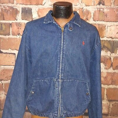Vintage Polo Ralph Lauren Womens Blue Jean Denim Jacket Red Lined Made in USA L