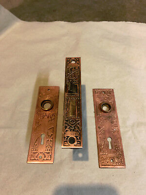 Antique Eastlake Bronze Ceylon Pattern Door Mortise Lock and Backplates