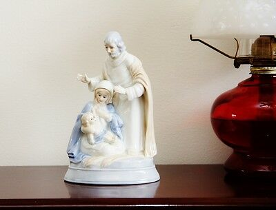 """8"""" Tall Vintage Lefton China Wind Up Musical Figurine HOLY FAMILY Silent Night"""